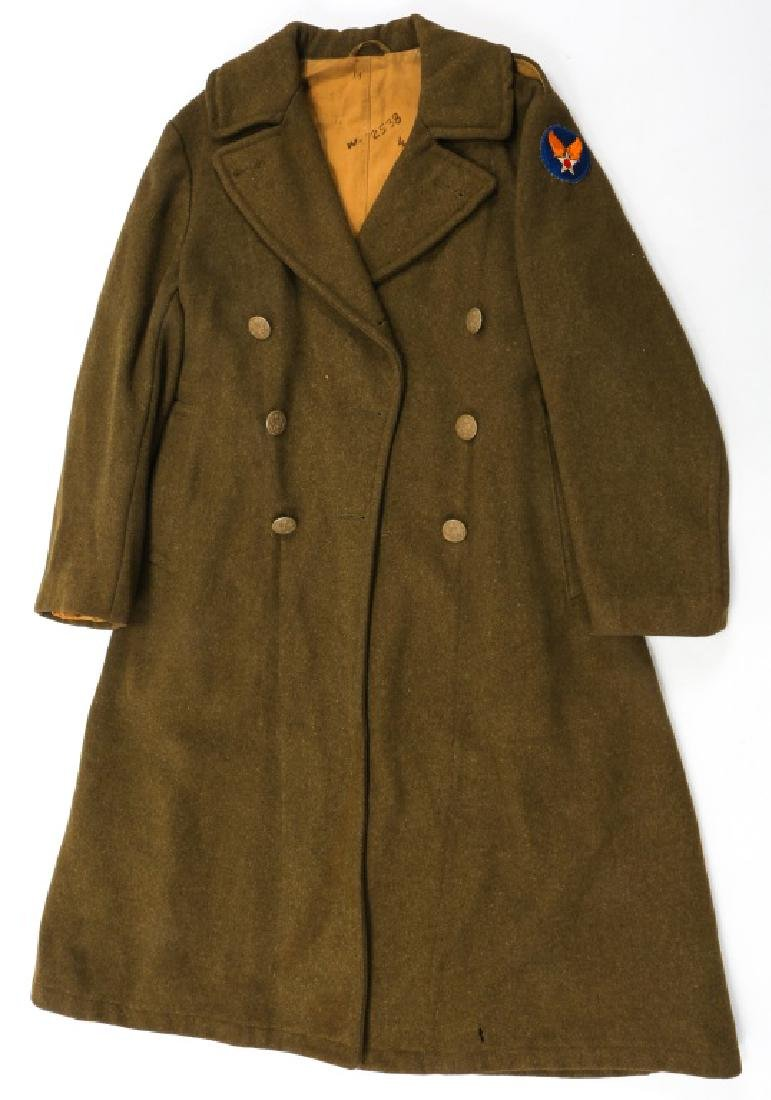 WWII US ARMY OVERCOAT AND IKE JACKET LOT OF 4 - 7