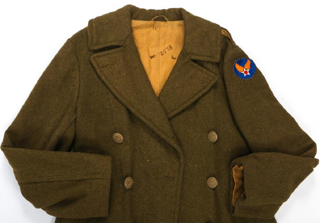WWII US ARMY OVERCOAT AND IKE JACKET LOT OF 4 - 8
