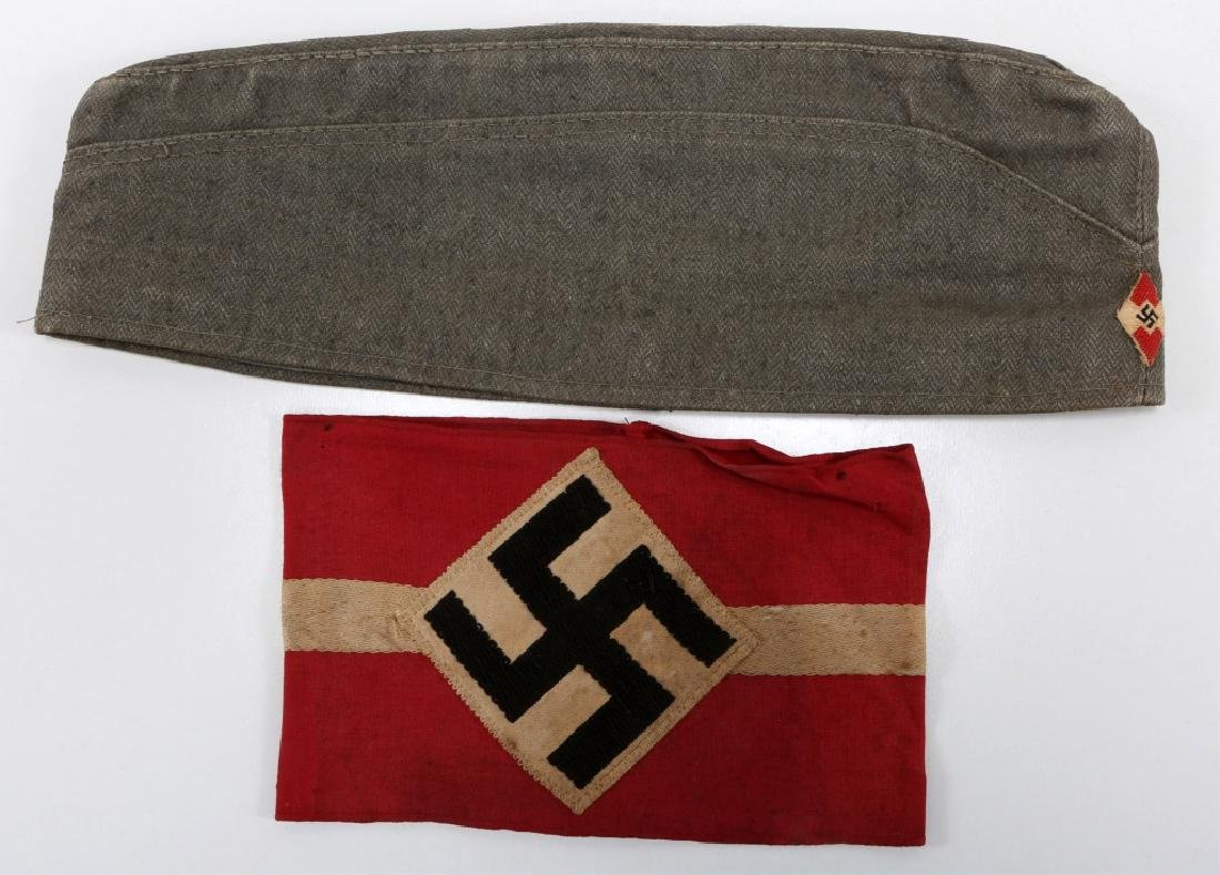 WWII HITLER YOUTH CAP AND ARMBAND