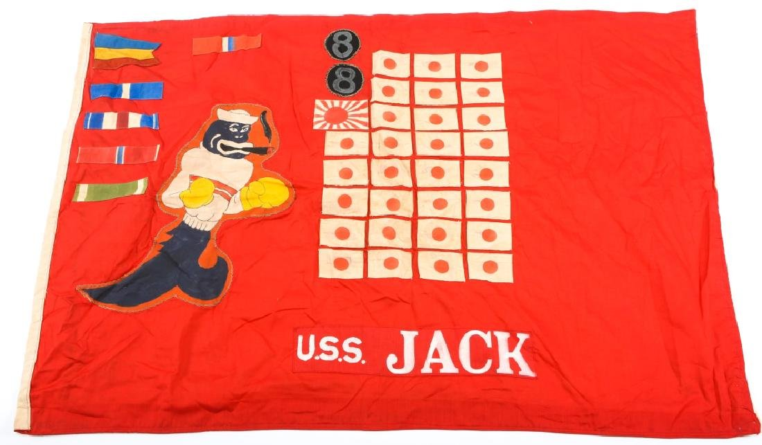 WWII US NAVY SUBMARINE BATTLE FLAG USS JACK