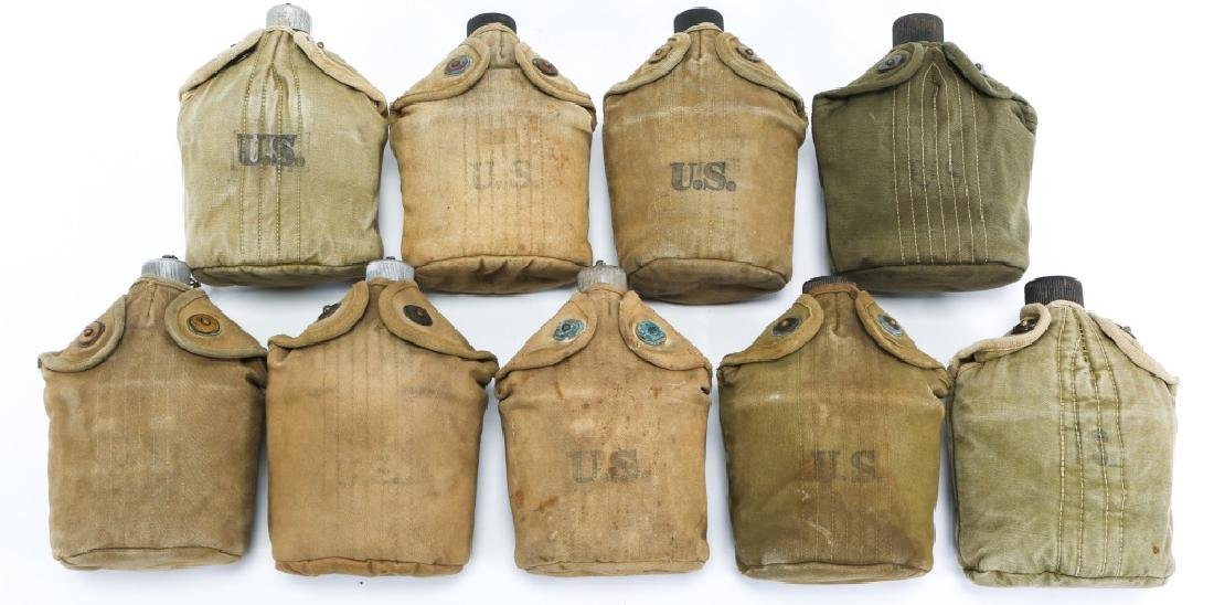 WWII US ARMY COMPLETE CANTEEN SET LOT OF 9