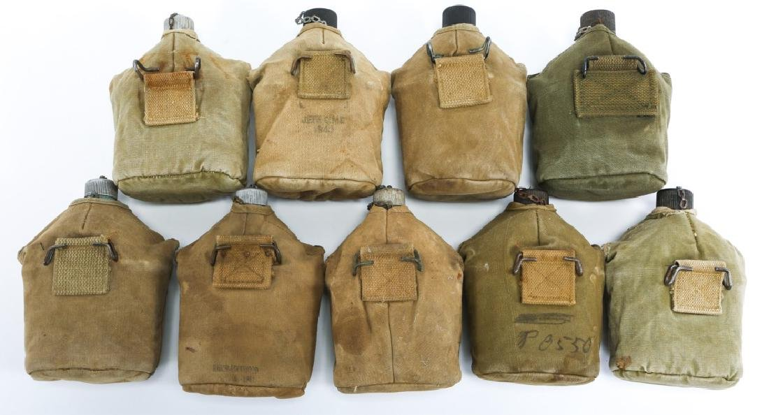WWII US ARMY COMPLETE CANTEEN SET LOT OF 9 - 2