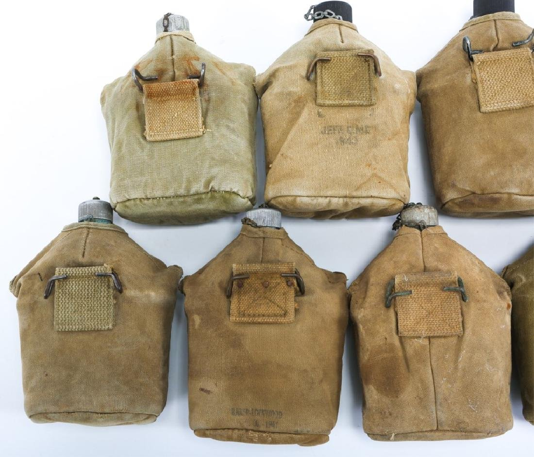 WWII US ARMY COMPLETE CANTEEN SET LOT OF 9 - 3