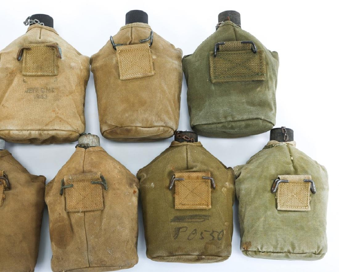 WWII US ARMY COMPLETE CANTEEN SET LOT OF 9 - 4