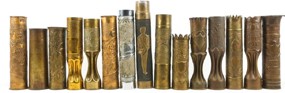 WWI SHELL TRENCH ART LOT OF 15