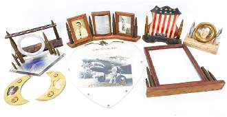 WWII SWEETHEART PICTURE FRAME LOT OF 9
