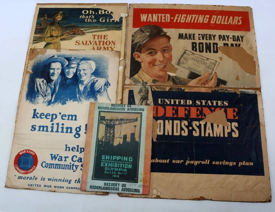 WWI US WAR POSTER AND PRINT LOT OF 4