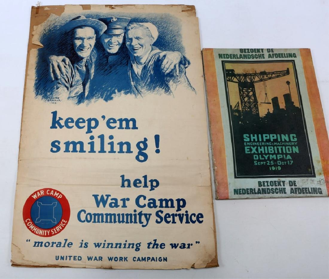 WWI US WAR POSTER AND PRINT LOT OF 4 - 6