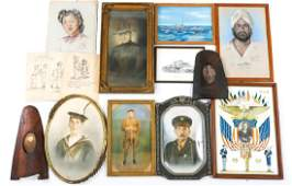 WWI PORTRAITS DRAWINGS AND PHOTOGRAPHS LOT OF 15