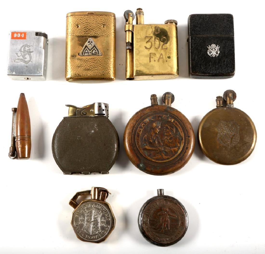 WWI & WWII WORLD MILITARY TRENCH LIGHTER LOT