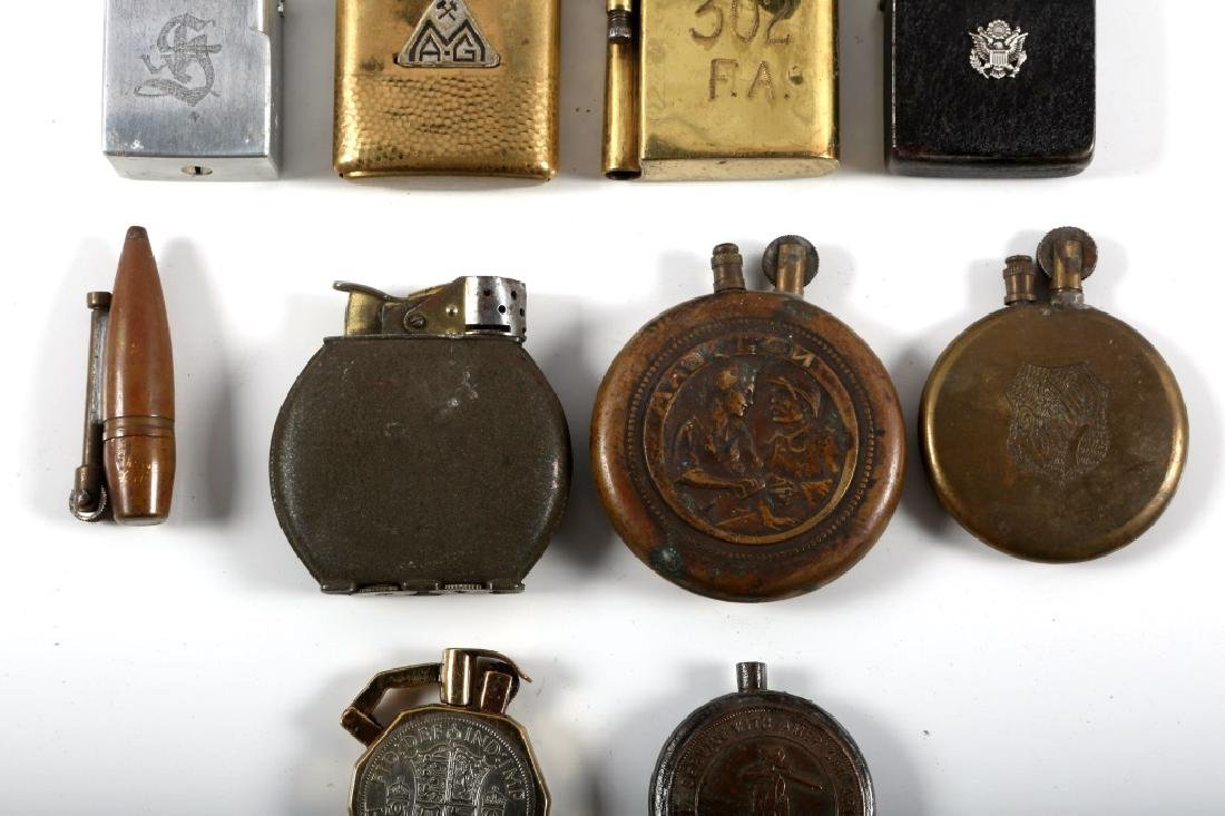 WWI & WWII WORLD MILITARY TRENCH LIGHTER LOT - 2