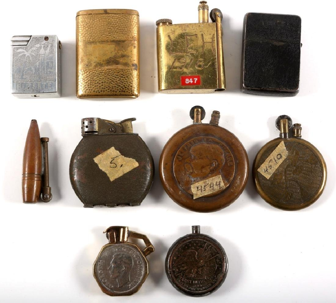 WWI & WWII WORLD MILITARY TRENCH LIGHTER LOT - 4