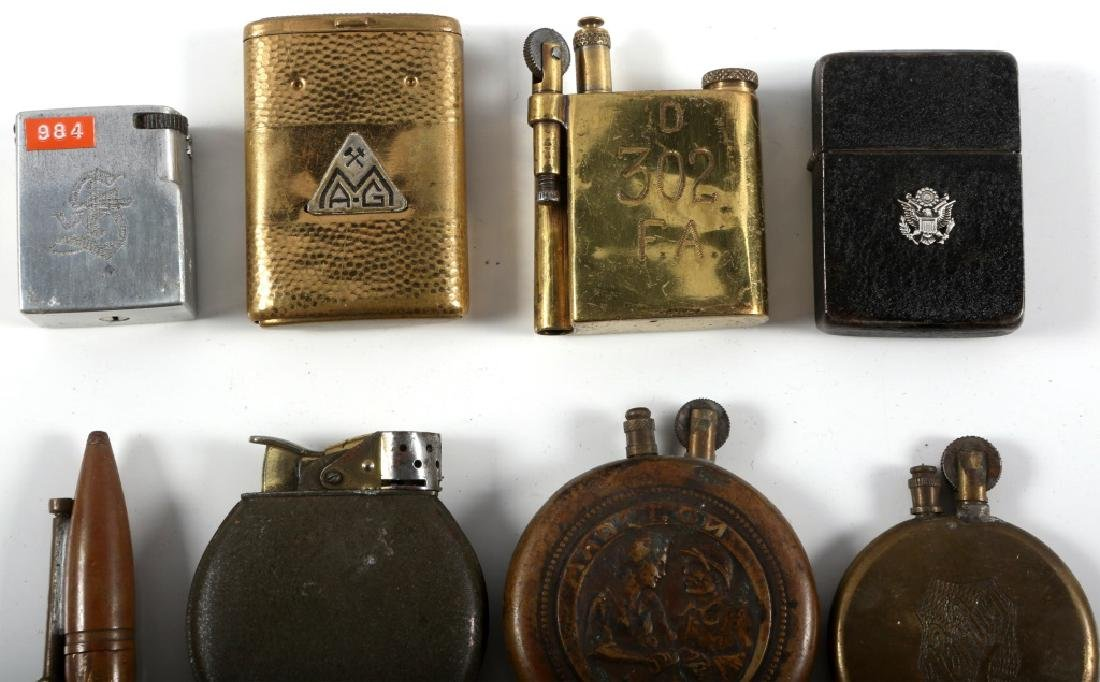 WWI & WWII WORLD MILITARY TRENCH LIGHTER LOT - 8