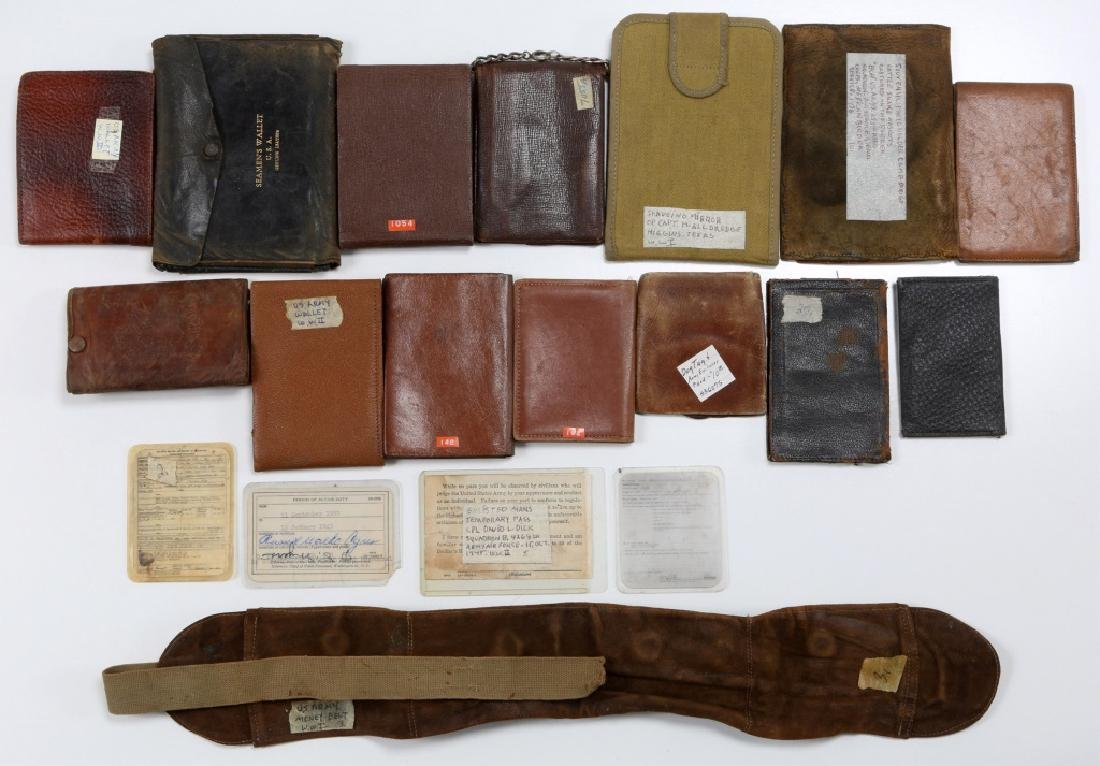 WWII US ARMED FORCES WALLET AND ID CARD MIXED LOT - 8