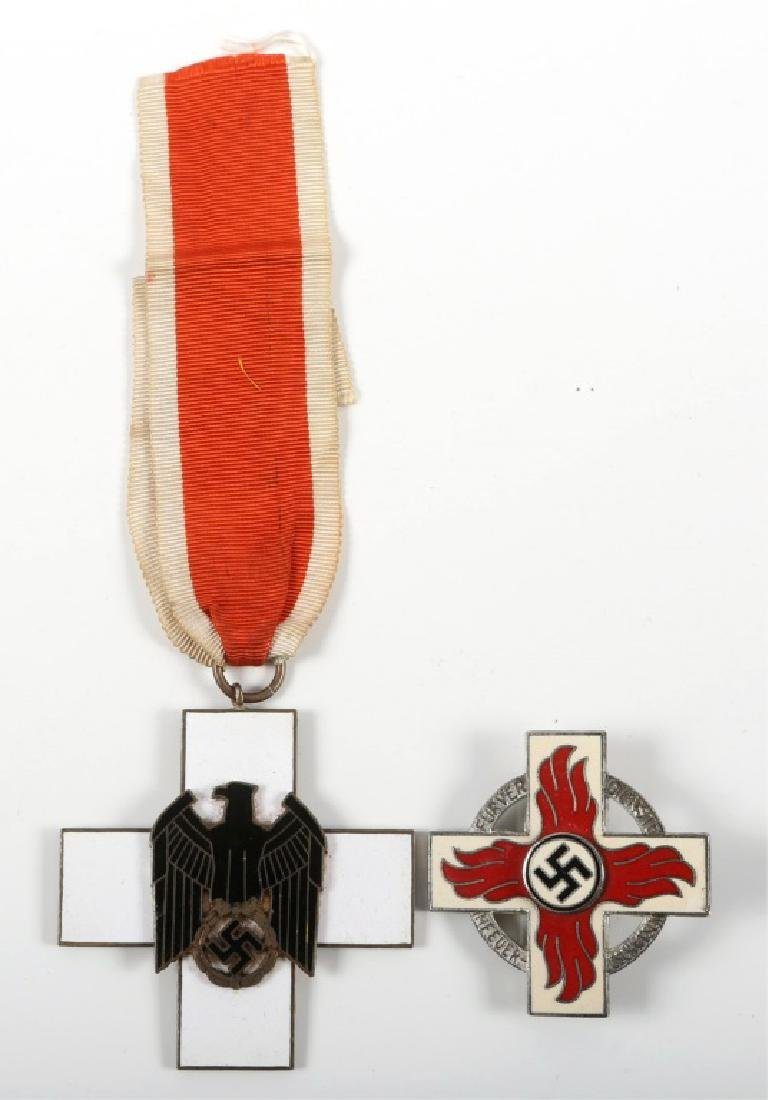 WWII GERMAN RED CROSS MEDAL AND BADGE LOT OF 2