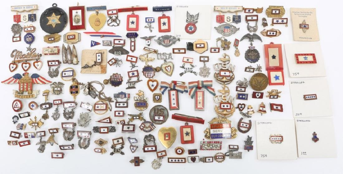 WWII LARGE LOT OF US SON IN SERVICE PINS