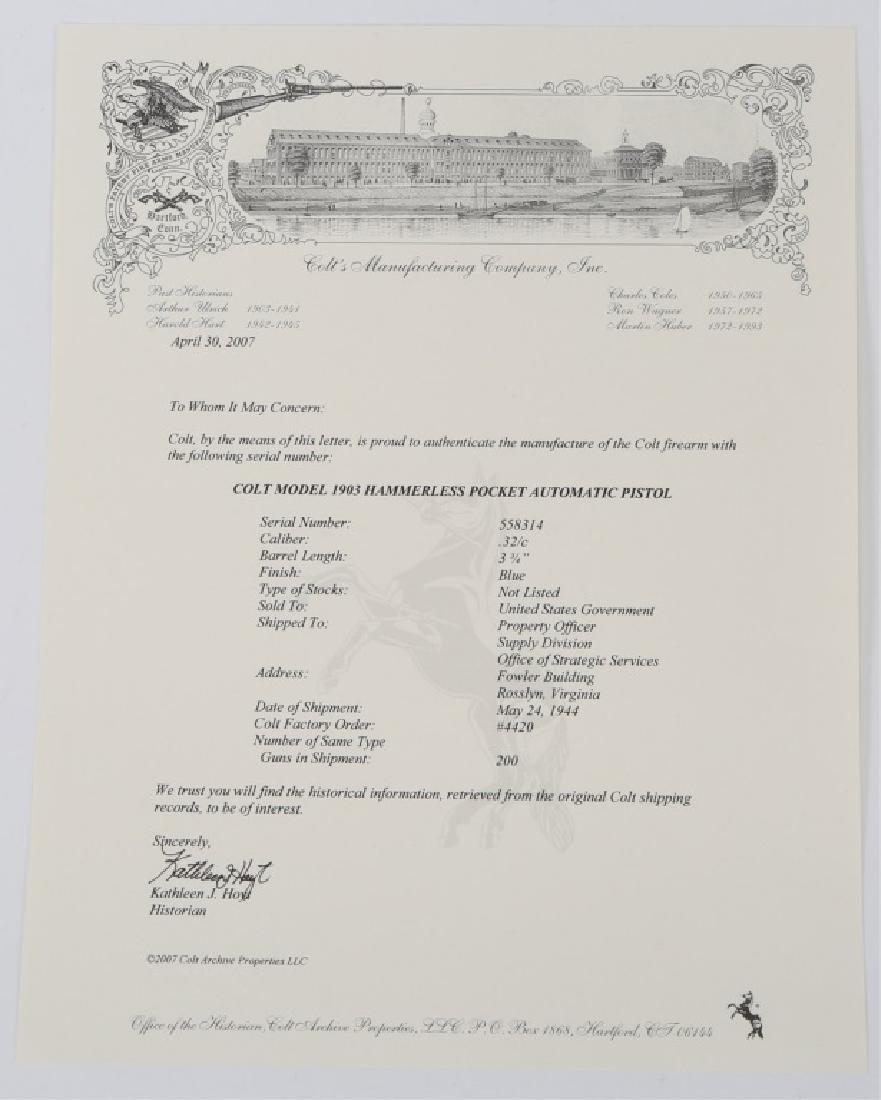 1941 US COLT MODEL 1903 .32 CAL PISTOL - 6