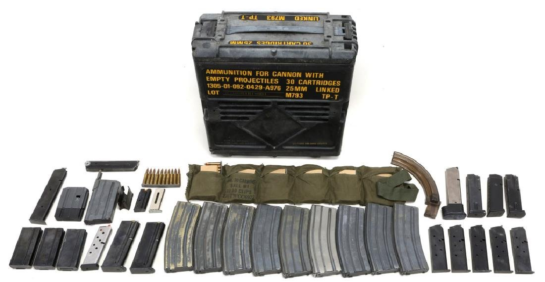 MIXED MAGAZINE &  AMMUNITION LOT IN AMMO CAN