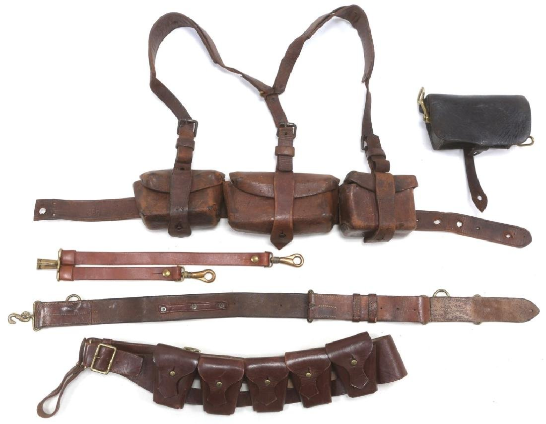 BRITISH BOER WAR LEATHER AMMO POUCH & BELT LOT