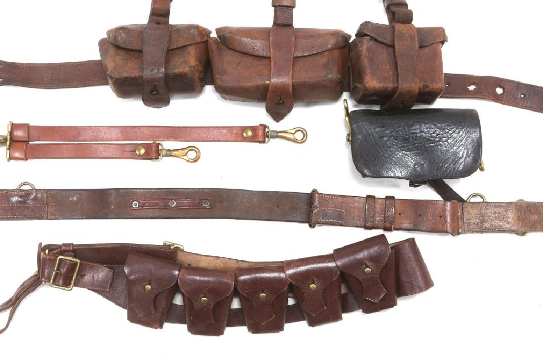 BRITISH BOER WAR LEATHER AMMO POUCH & BELT LOT - 2
