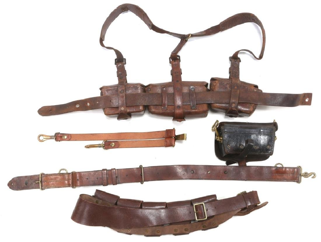 BRITISH BOER WAR LEATHER AMMO POUCH & BELT LOT - 3
