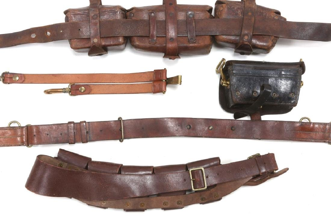 BRITISH BOER WAR LEATHER AMMO POUCH & BELT LOT - 4
