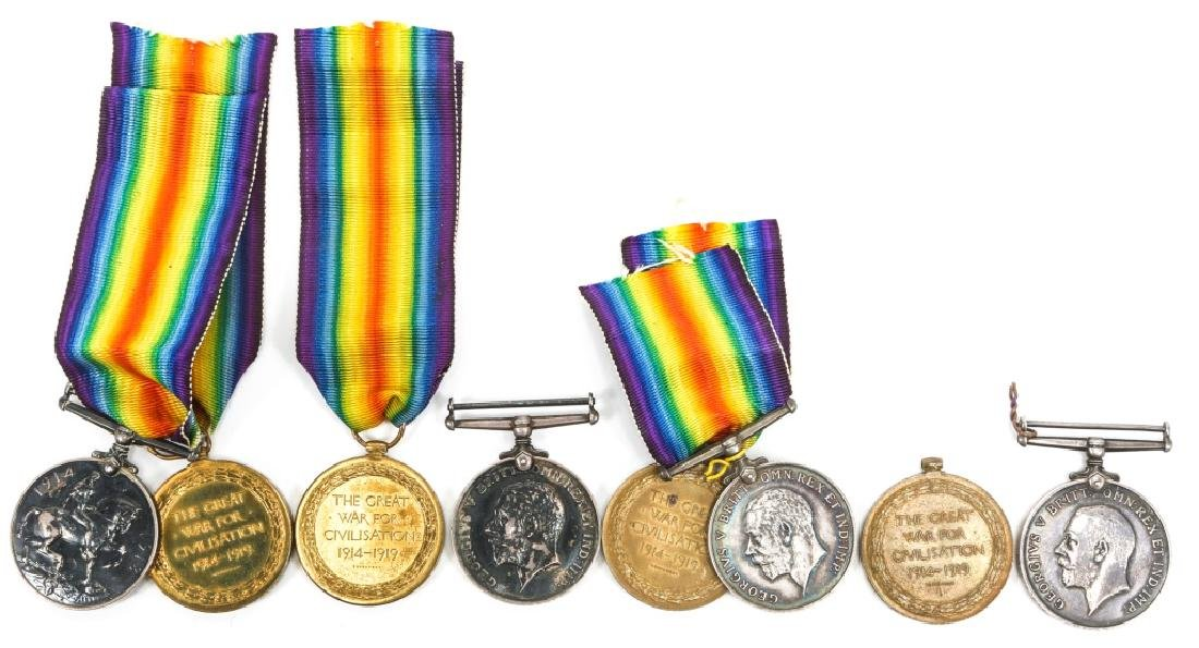 WWI BRITISH NAMED GREAT WAR & VICTORY MEDAL LOT - 4