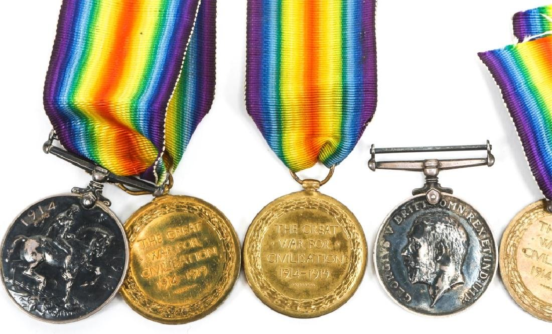 WWI BRITISH NAMED GREAT WAR & VICTORY MEDAL LOT - 5