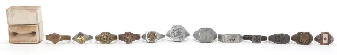 WWI WORLD MILITARY SOLDIER RING LOT OF 12