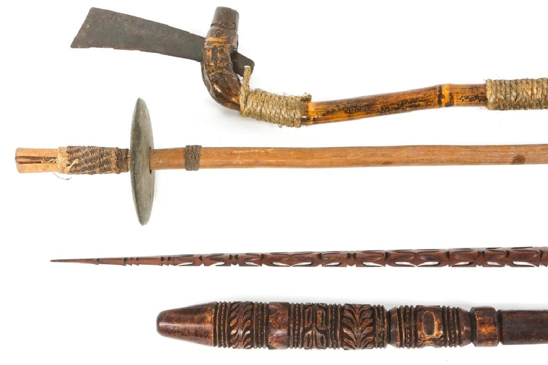 SOUTHEAST ASIAN AXE AND CLUB LOT OF 4 - 5