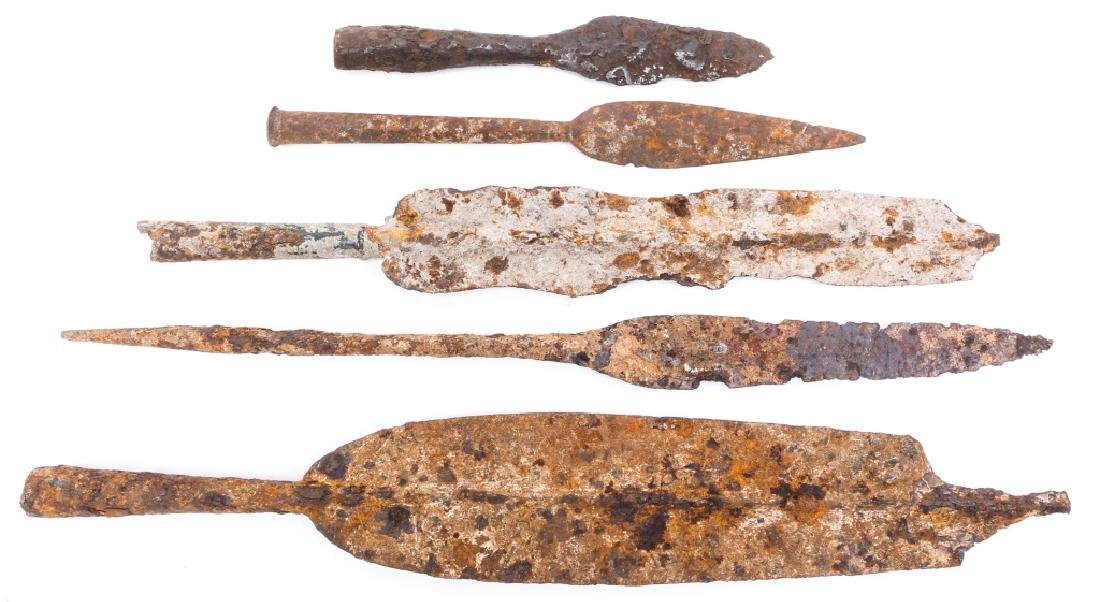 EARLY DUG SPEAR HEAD LOT OF 5