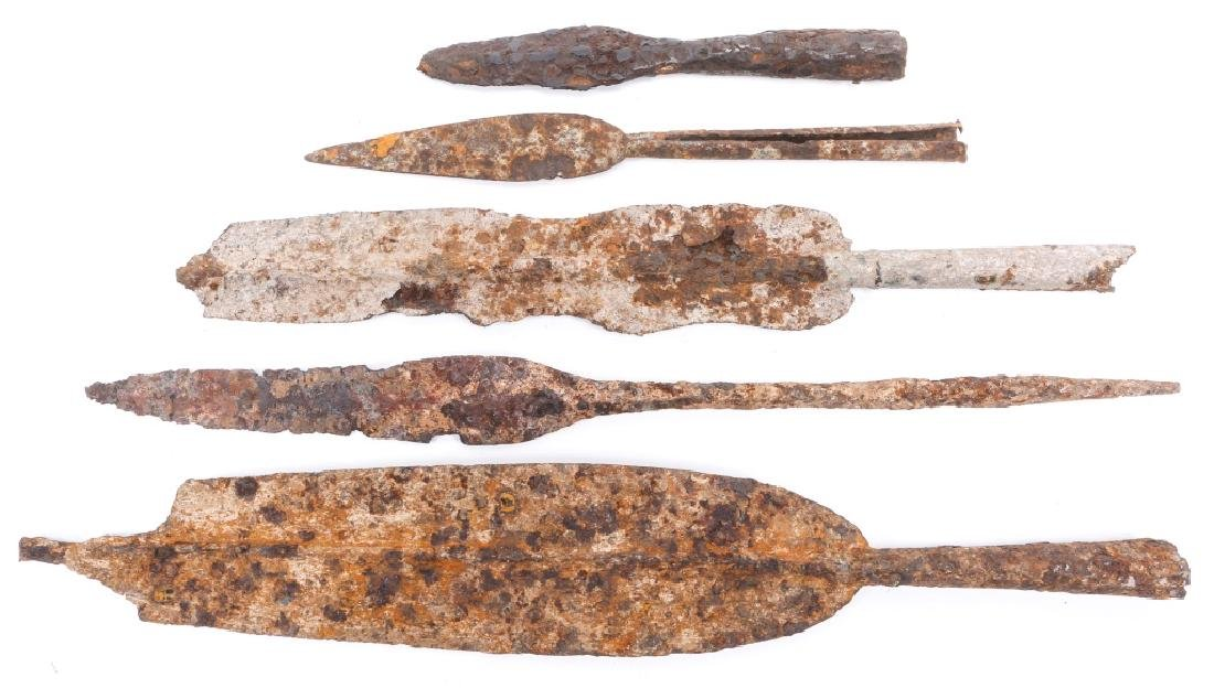 EARLY DUG SPEAR HEAD LOT OF 5 - 3