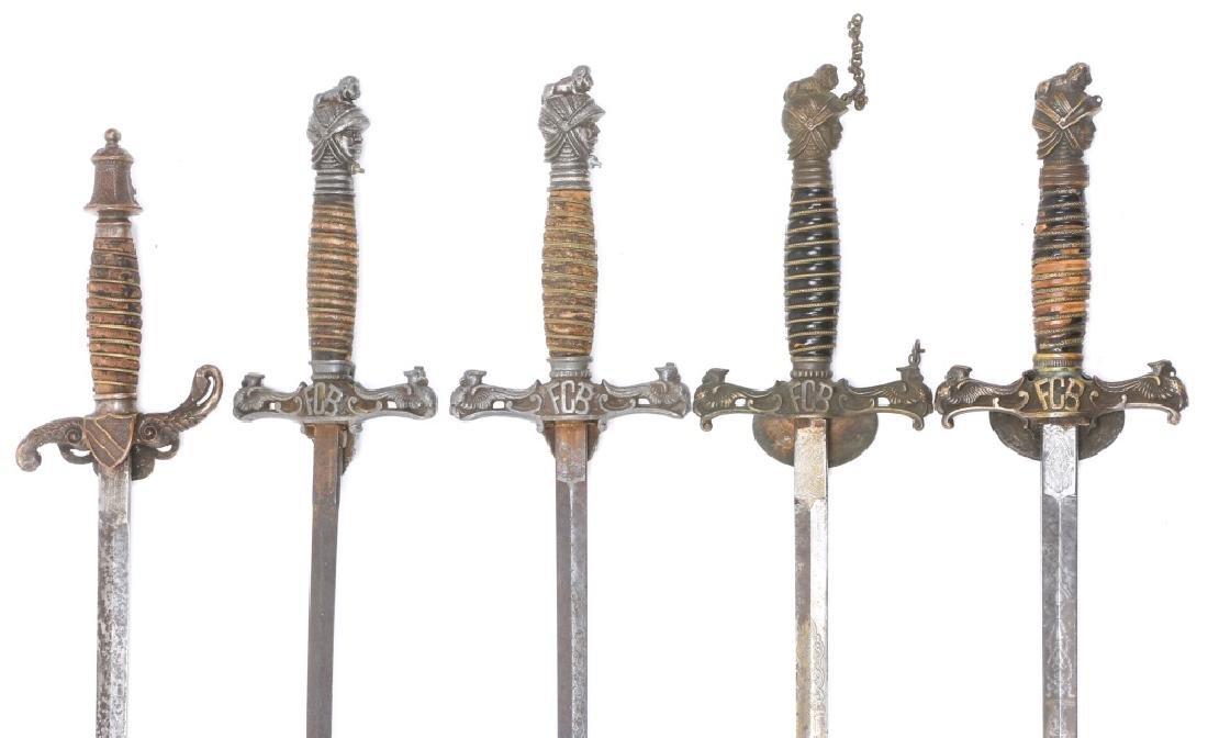 FRATERNAL SWORD LOT OF 5 - 7