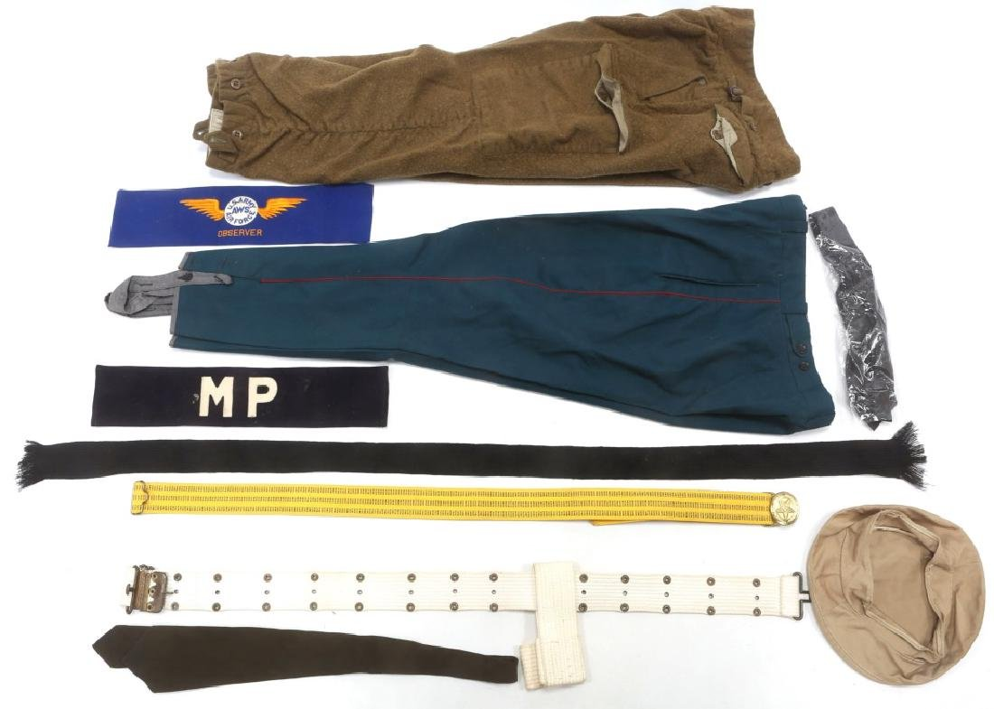WORLD MILITARY UNIFORM PANTS & GEAR MIXED LOT
