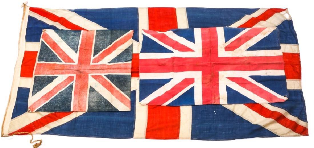 WWII BRITISH UNION JACK FLAG LOT OF 3