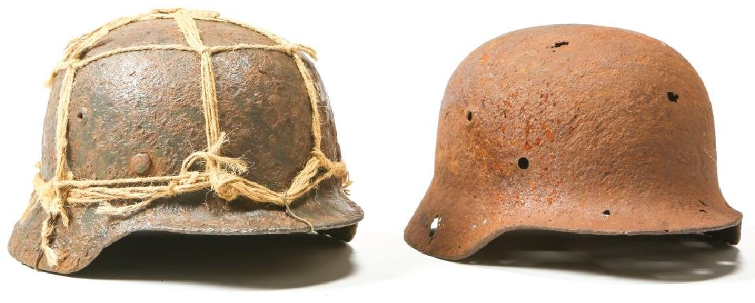 WWII GERMAN HELMET BATTLE FIELD RELIC LOT OF 2