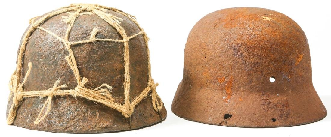 WWII GERMAN HELMET BATTLE FIELD RELIC LOT OF 2 - 2