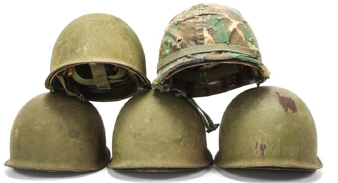 KOREAN & VIETNAM WAR M1 & M5 HELMET & LINER LOT - 3