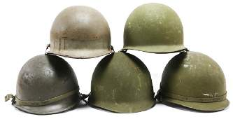 VIETNAM WAR ERA US M1 HELMET LOT OF 5