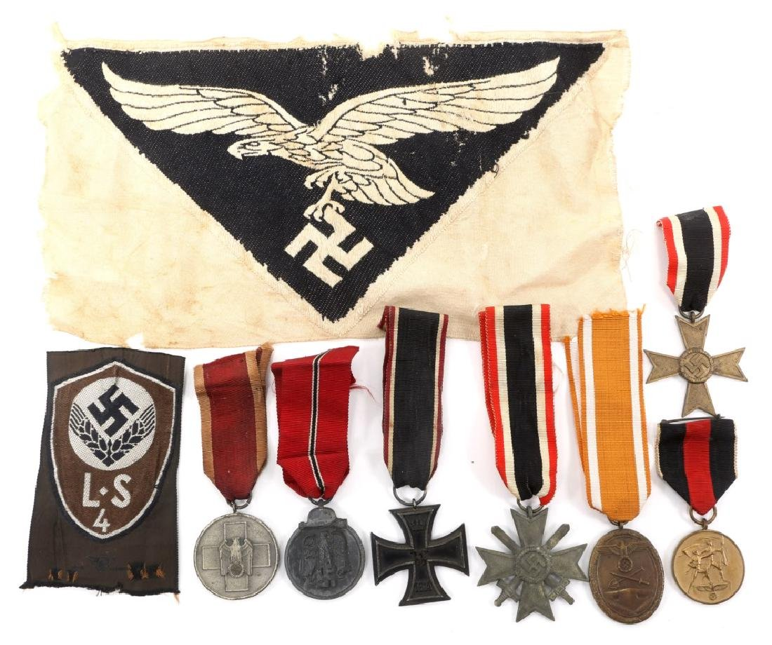 WWII GERMAN MEDAL AND PATCH LOT OF 9