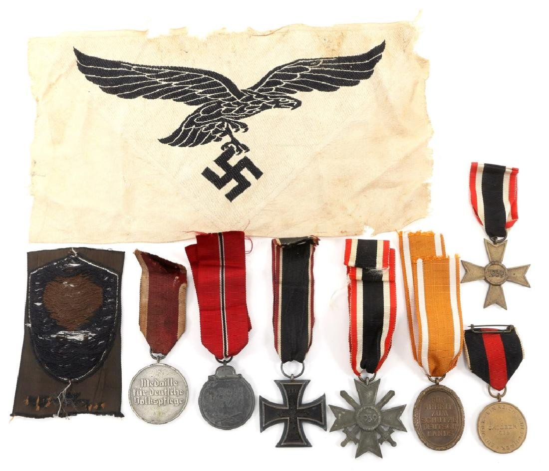 WWII GERMAN MEDAL AND PATCH LOT OF 9 - 4