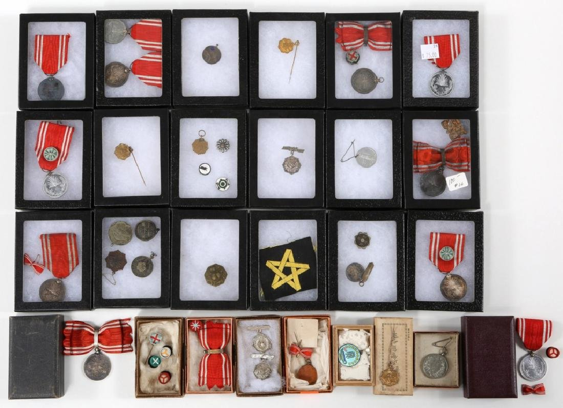 WWII JAPANESE ARMY MEDALS & PINS LARGE LOT