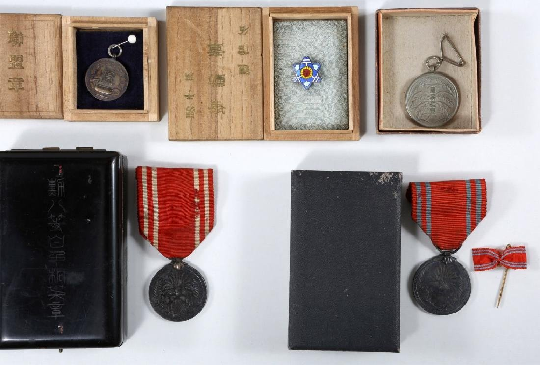 WWII JAPANESE ARMY MEDALS & PINS LARGE LOT - 10