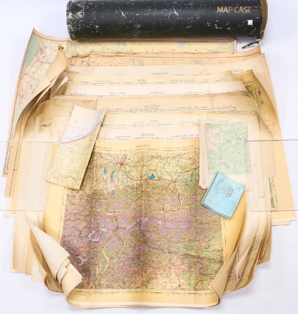 US WWII AVIATION METAL MAP CASE WITH PERIOD MAPS