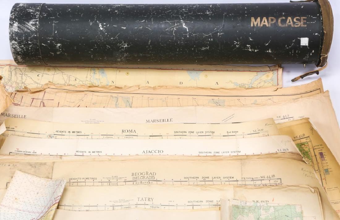 US WWII AVIATION METAL MAP CASE WITH PERIOD MAPS - 2