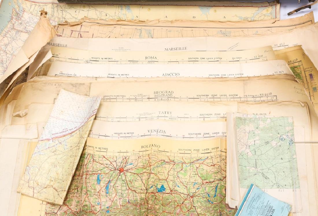 US WWII AVIATION METAL MAP CASE WITH PERIOD MAPS - 3