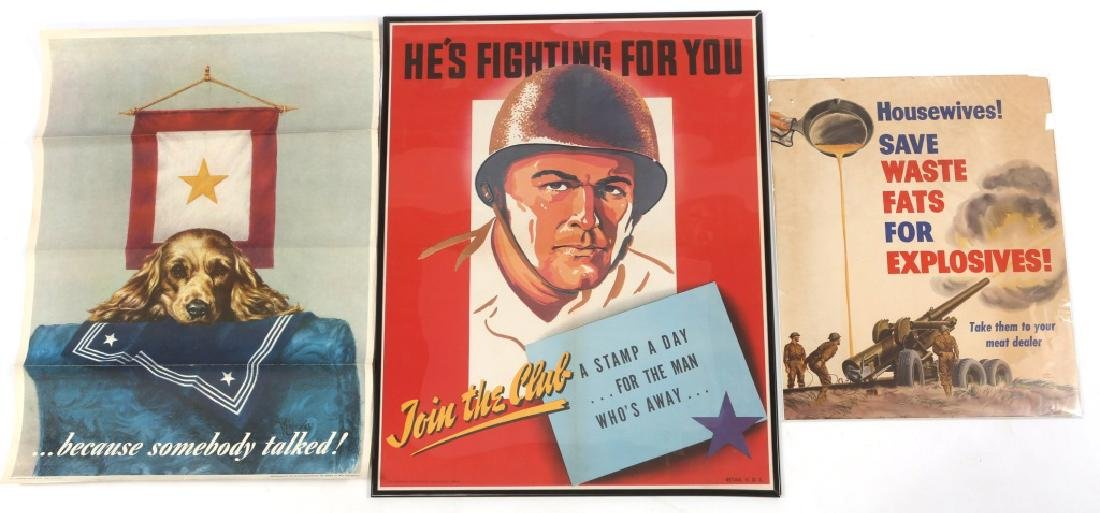 WWII FRAMED WAR POSTER LOT OF 3