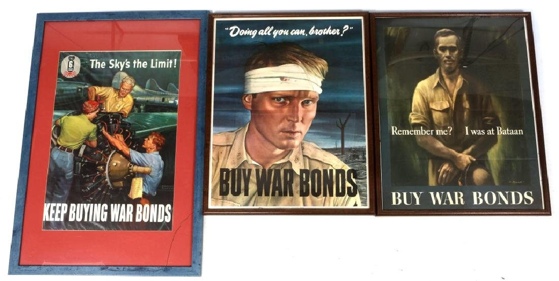 WWII US FRAMED WAR POSTER LOT OF 3