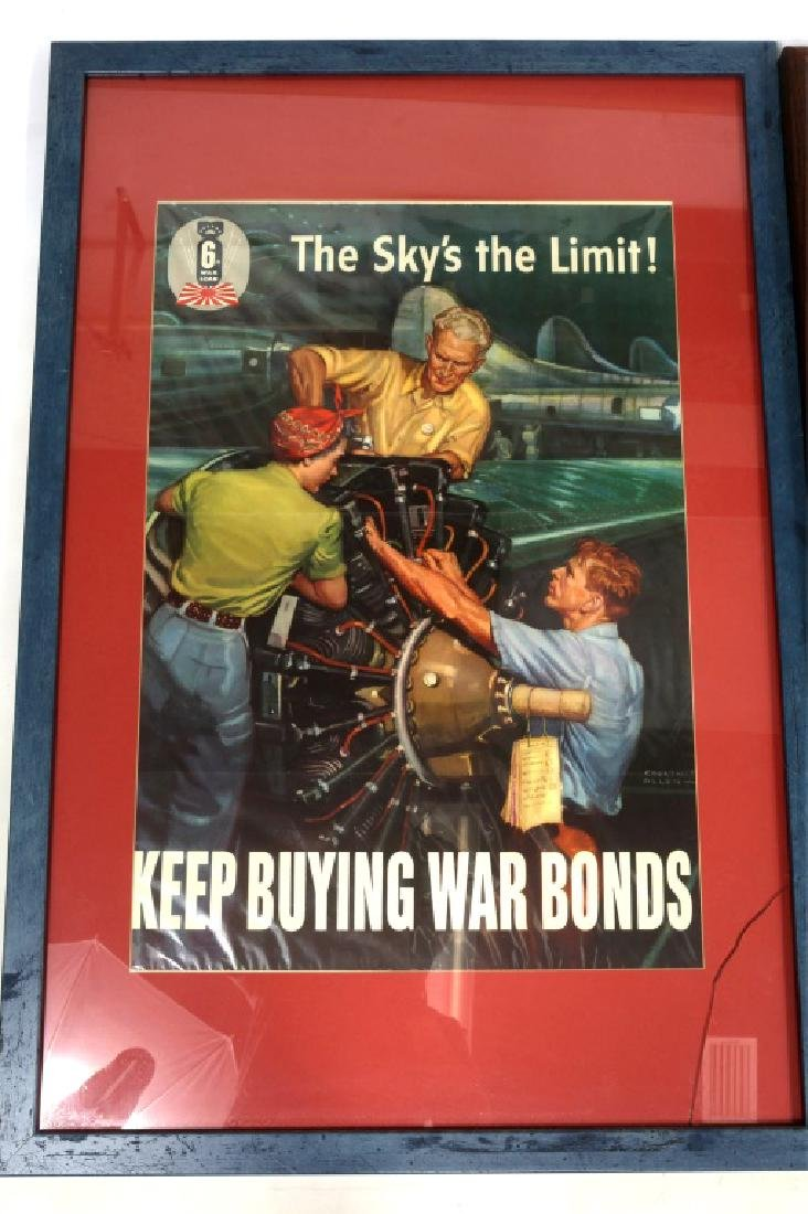 WWII US FRAMED WAR POSTER LOT OF 3 - 2