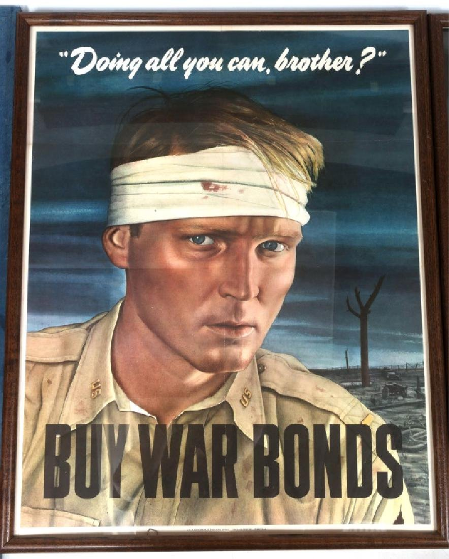 WWII US FRAMED WAR POSTER LOT OF 3 - 3